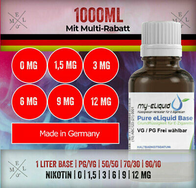 my-eLiquid Base 1000ml | Nikotin 0|1,5|3|6|9|12mg in 50/50 | 70/30 | 90/10 ⭐ 1L