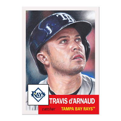 2019 Topps Living Set 237 Travis d'Arnaud Tampa Bay Rays Retro 1953 Style