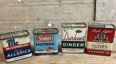 Lot Of 4 Vintage Spice Tins ,Durkees, Slades, Mccormick, Red Label