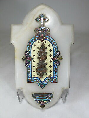 Antique French champleve & onyx holy water plaque # D10453