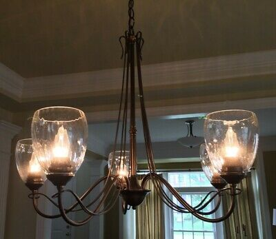 Hubbardton Forge -Trellis 5-Arm Chandelier -Mahogany Finish -Water Glass