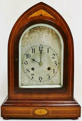 Antique German 8 Day Ting Tang Chime 1/4 Striking Mahogany Inlaid Bracket Clock