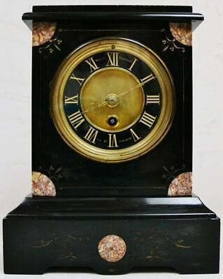 Antique French 8 Day Engraved Slate & Multi colour Marble Timepiece Mantel Clock