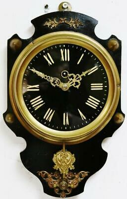 Original Antique French Farcot 8 Day Ebonised Shield Cartel Timepiece Wall Clock