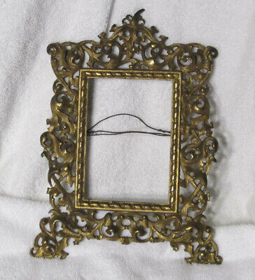 Antique Cast Metal Gold Rococo French Victorian Wall  Hanging Picture Frame