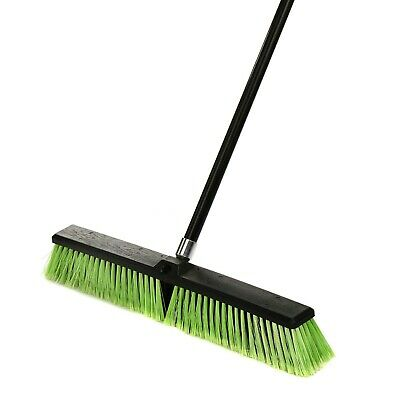Alpine Industries 24 in. Green Multi-Surface Commercial Push Broom 3-Pack