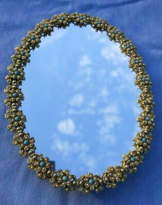 Vintage 50/ 60's Small JEWELED BRASS Makeup Standing MIRROR Signed EXQUISITE
