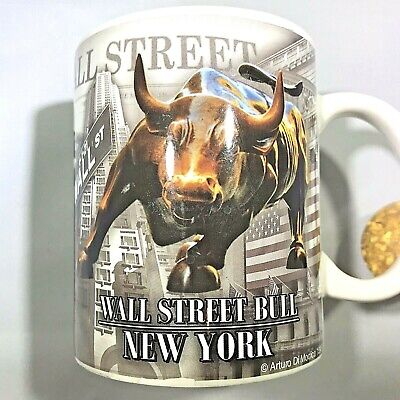 New York City Wall Street Bull Manhattan Coffee Tea Mug Excellent Condition 0172