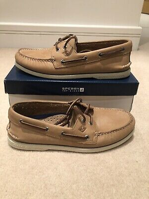 Sperry Top Sider AO 2 Eye Mens Beige Leather Boat Deck Shoes - UK 8.5 & UK 8