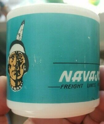 Vintage 1960S Fire-King Navajo Freight Lines Inc Indian Picture Coffee Mug Neat!