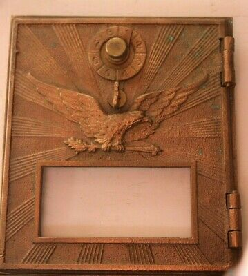 Vintage Bronze / Brass Post Office box door MEDIUM flying eagle NO GLASS  #6 sfr