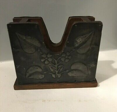 Antique Art Nouveau Embossed Pewter And Wood Playing Card Holder