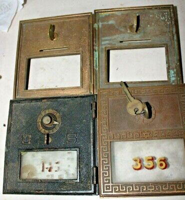 Vintage Bronze/Brass Post Office box doors 4 medium miscellaneous doors     3 a