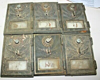 Vintage Post Office box doors 6 small flying eagle doors PARTS OR REPAIR  11a