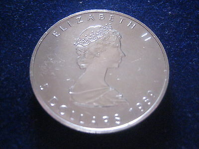 """Mds Canada / Canada 5 Dollars 1989 """" Maple Leaf """", 1 Once Argent #7"""
