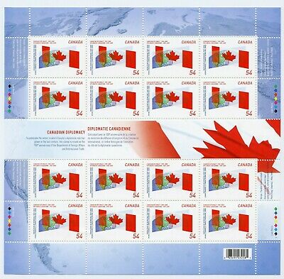 Weeda Canada 2331i VF MNH pane with vertical gutter, 2009 Diplomacy CV $24