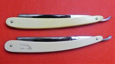 TWO SHAVE READY STRAIGHT RAZORS - GENCO TIGER / GENCO FLUID STEEL - EARLY 1900s