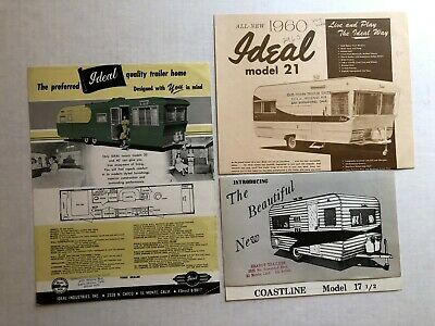 Collection of 3 Travel Trailer Sales Brochures-- Ideal & Coastline Trailers