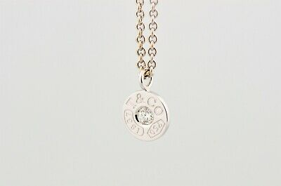 Tiffany & Co 1837 18K White Gold Diamond Small Circle Pendant Necklace