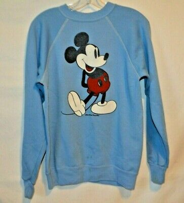 Vintage 70s Mickey Mouse Walt Disney Light Blue Raglan Sweatshirt Medium 38