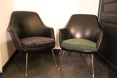 2 fauteuils crapauds design vintage sixties, assise à restaurer