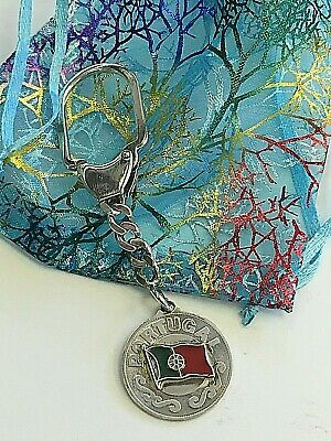 PORTUGAL FLAG New GENUINE 925 STERLING SILVER HIGH QUALITY KEYCHAIN Special Sale