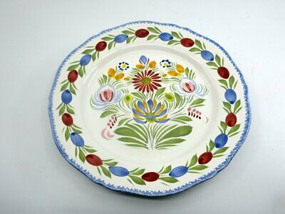 Henriot Quimper France Hand Painted Dinner Plate (B) Floral Scalloped