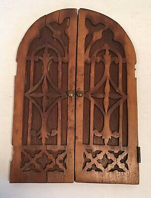 antique Hand Carved Arched Top Miniature Wood DOORS
