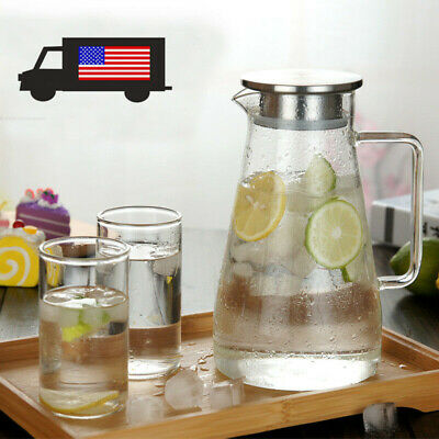 1.5 L Glass Pitcher Jug Water Juice Tea Carafe Cold Drinks With Stainless Lid US