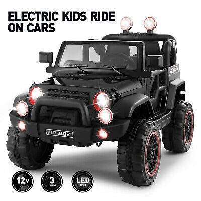 Black 12V Kids Ride on Car Truck Toys Electric LED Music 3 Speeds Remote Control