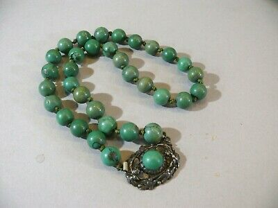Rare Antique 19thC Chinese Export Silver Turquoise Choker Necklace w/10mm Beads
