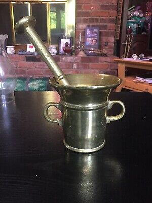 Antique Vintage Heavy Solid Brass Mortar And Pestle