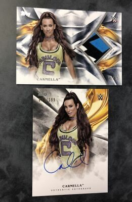 CARMELLA 2019 Topps WWE Undisputed Lot x 2= Auto & Worn 3-color shirt relic /25