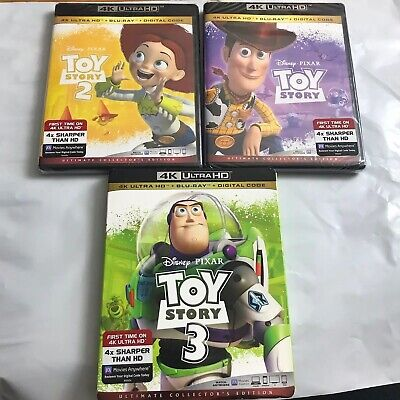 Toy Story Trilogy (4K Ultra HD +Blu-Ray + Digital Codes) 1 2 3 Pixar Disney Buzz