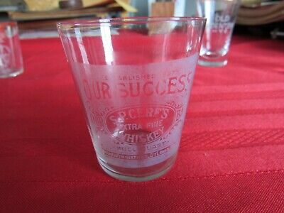 Rare Our Success Whiskey Etched Shot Glass-C.P.Cerf's Distilling St.Louis, Mo.