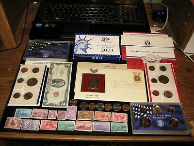 Junk Drawer Coin Lot US Red Seal Bill 1987 Mint Set 2003 PROOF SET Old Stamps