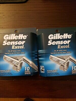 2 Of Brand New Gillette Sensor Excel 20 Count Razor Refill Cartridges