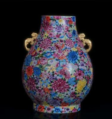 "19.7"" China Porcelain colour enamels gilt Hand painting flower double ear vase"