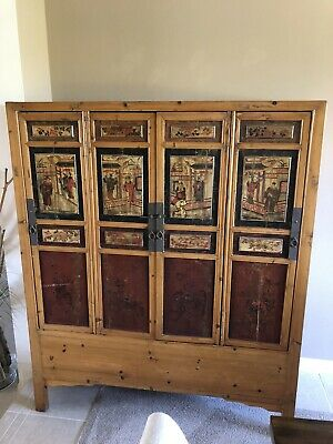 Vintage Chinese Apothecary Case cabinet w drawers wood box Antique OLD vtg