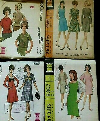 Lot  of 9 Vintage 1960's MacCall's Misses Sewing Patterns, Dresses, Skirts..