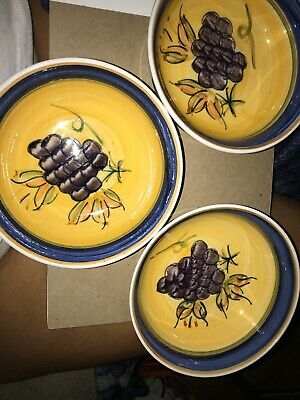 "Gibson Everyday ~ Yellow Blue Purple  ~ Set of 3~ Soup /Cereal Bowls ~ 6"" Grapes"