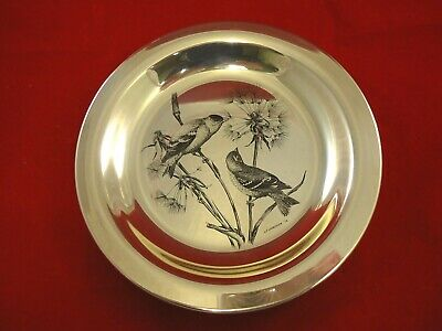 Plate made of Sterling Silver w/ Gold Finches by National Audubon Society