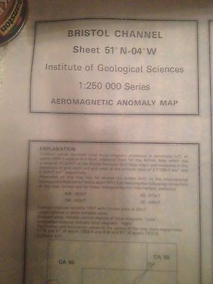 BRISTOL CHANNEL Institute Geological Sciences Aeromagnetic Anomoly Map 51N-04W