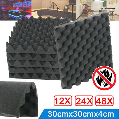 NEW 12-48pcs 40mm Thick Acoustic Foam Panel Soundproof Absorption Title Studio