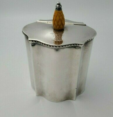Silverplate Tea Caddy with Heraldic Lion Holding Crown and Wood Pineapple Handle
