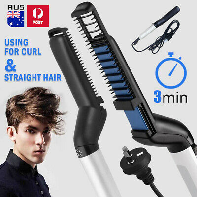Quick Beard Straightener Multifunctional Hair Comb Curling Curler Show Cap Mens