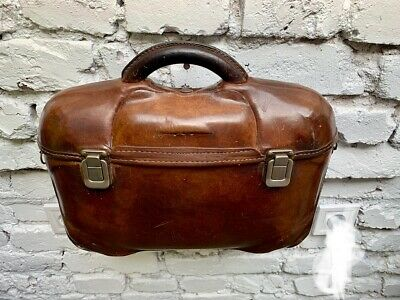 Vintage Leather Briefcase Suitcase Original from Mid 20th Century