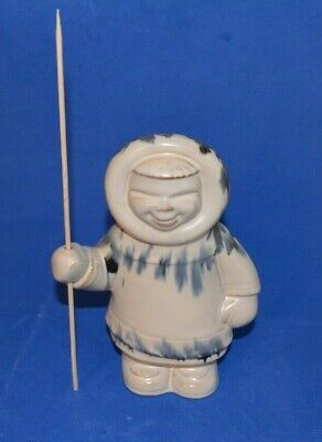 "Huronia Pottery white / blue  Glaze 7 ""  Eskimo Man with Decal and Wood Spear"