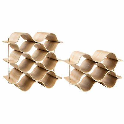 Wooden Wave Wine Rack Freestanding For Table, Bar Or Counter Modern Minimal N4Q6
