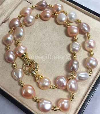gorgeous 12-13mm south sea baroque gold pink pruple pearl necklace 20inch